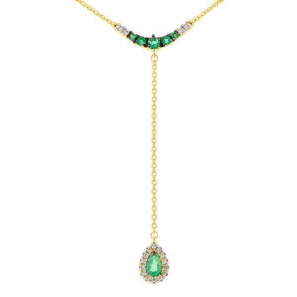 Gargantilha Gravatinha Ouro 18K Pedra Esmeralda