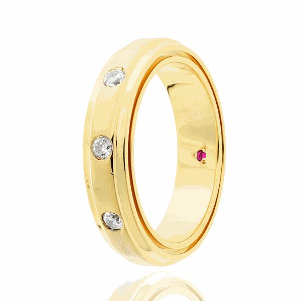 Aliança Eternn com Diamante Ouro 18K - Linha Tríade