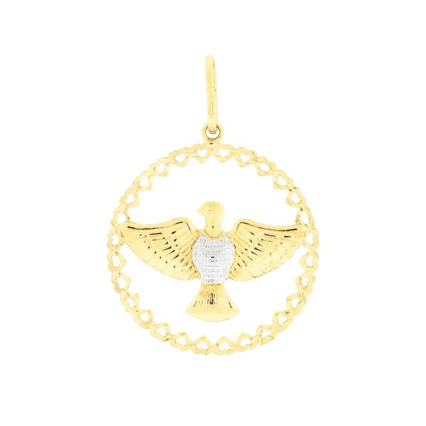 Pingente de Ouro 18K Divino Espírito Santo Aro Círculo Coração