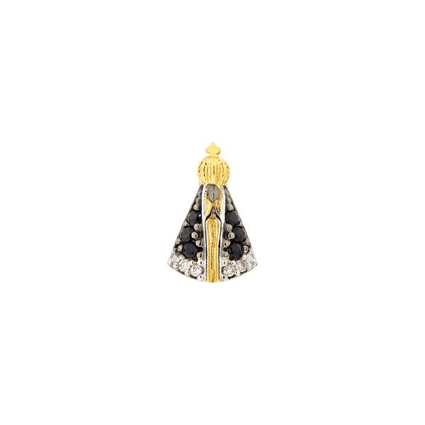 Pingente de Nossa Senhora Aparecida Pequena Ouro 18K com Brilhantes e Safiras