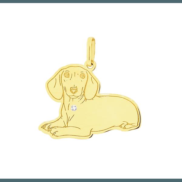 Pingente Cachorro Dachshund em Ouro 18K com Brilhante