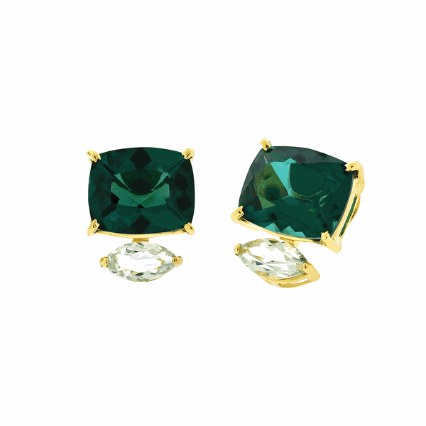 Brinco de Ouro 18K Pedras de Topázio Verde e Prasiolita