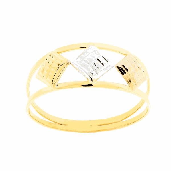 Anel de Três Cores Losangos Ouro 18K