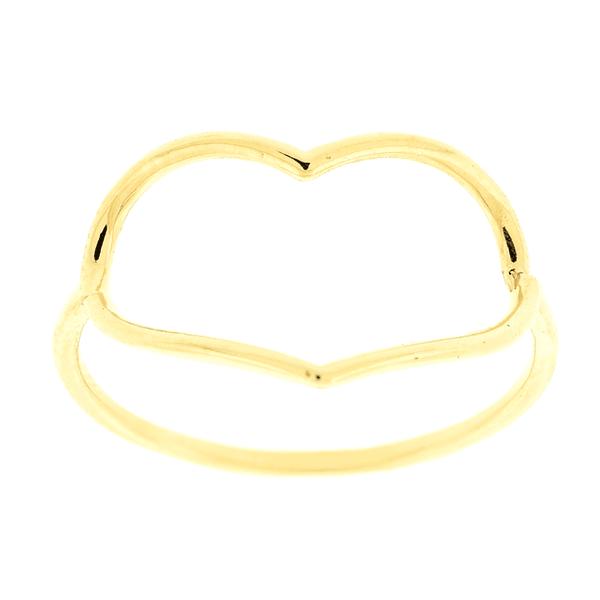Anel de Coração Fio de Ouro 18K