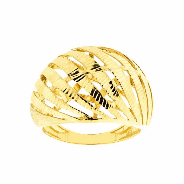 Anel de Ouro Amarelo 18K Feminino Detalhe Vazado