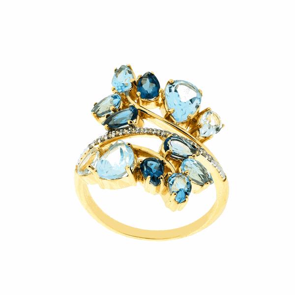 Anel de Ouro 18K com Pedras Azuis de Topázio e Brilhantes