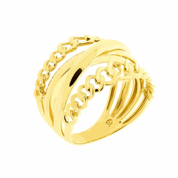 Anel de Ouro Amarelo 18K Elos Quadrados