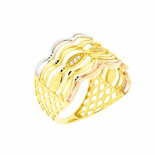 Anel de Ouro 18K Detalhe Filetes 3 Cores e Zirconias