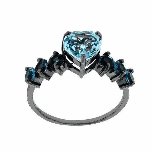 Anel em Ouro 18K Coração Pedras Azuis de Topázio