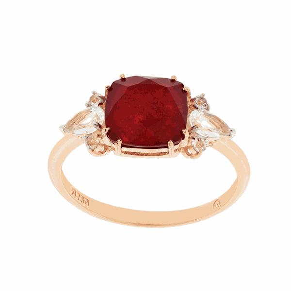 Anel em Ouro Rosé 18K com Pedra de Quartzito Vermelho