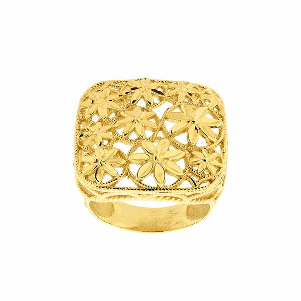 Anel Ouro 18K Quadrado Flores Diamantado
