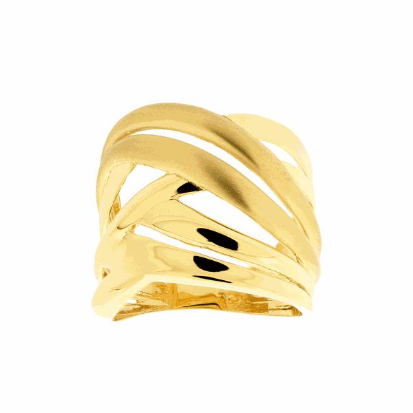 Anel de Ouro 18K Vazado Detalhes Polidos e Foscos