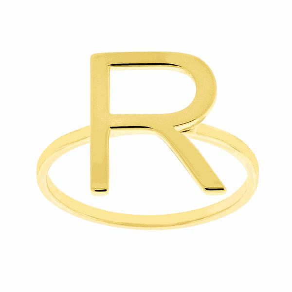 Anel de Letra R em Ouro 18K