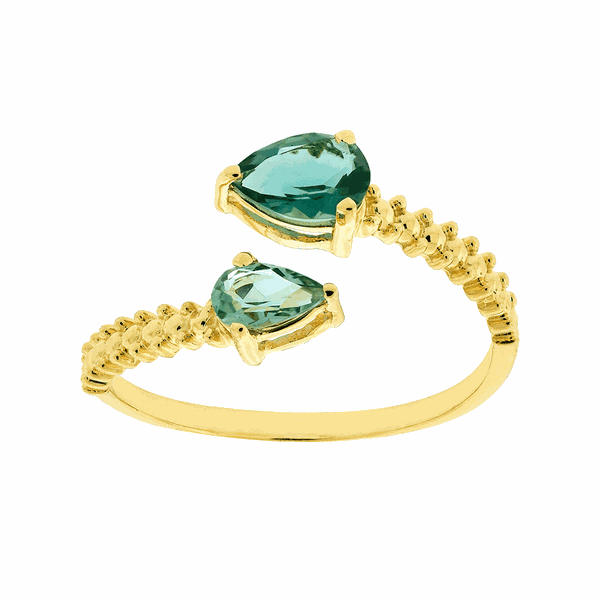 Anel de Ouro 18K Topázio Verde Detalhes Bolinhas