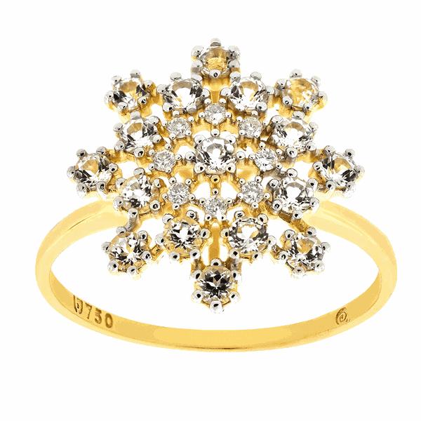 Anel de Ouro 18K Flor Grande com Topázios e Brilhantes