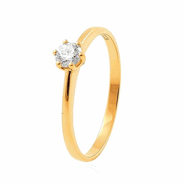 Anel Solitário Pedra de Brilhante em Ouro 18K