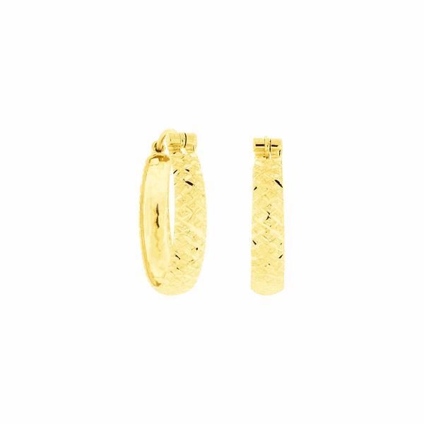 Brinco de Argola em Ouro 18K Trabalho Diamantado