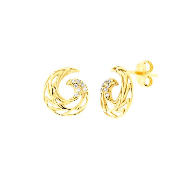 Brinco de Ouro 18K Espiral com Zircônias