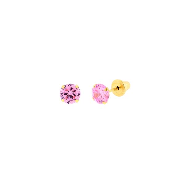 Brinco de Ouro Infantil Zirconia Rosa 4mm