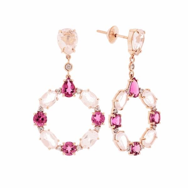 Brinco de Ouro Rosé 18K Longo Círculo Pedras Quartzo e Turmalina Rosa com Brilhantes