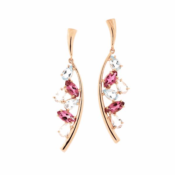 Brinco de Ouro Rosé 18K Longo com Pedras Turmalina e Quartzo Rosa