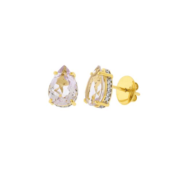 Brinco de Ouro 18K Pedra Ametista e Brilhantes