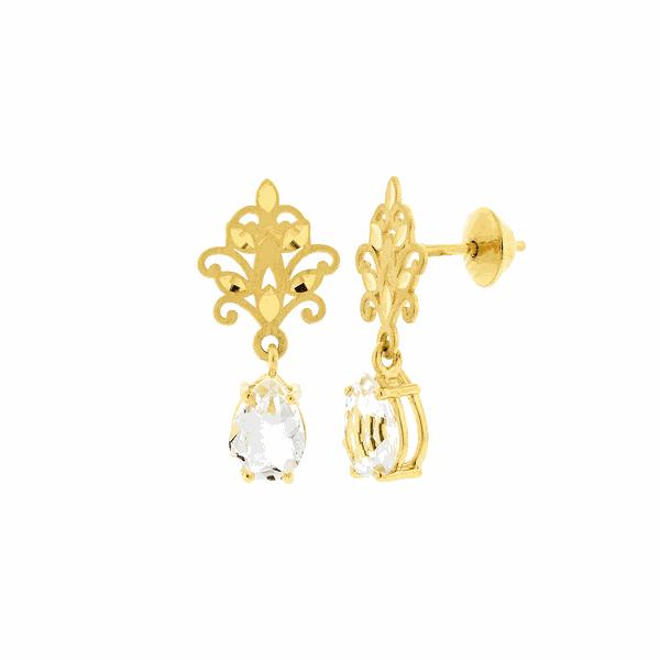Brinco de Ouro 18K Flor de Lótus com Cristal