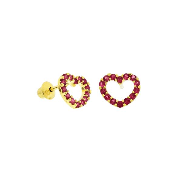 Brinco de Coração em Ouro 18K com Rubi Pequeno