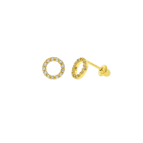 Brinco de Ouro 18K Círculo de Zircônias