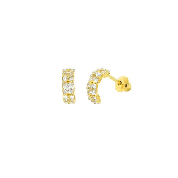 Brinco de Ouro 18K Meia Argola Pequena com Zirconias