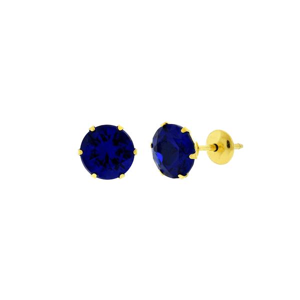 Brinco de Ouro 18K com Pedra de Zircônia Azul 6mm