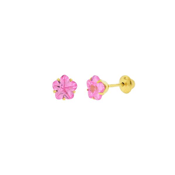 Brinco de Ouro 18K Zircônia Flor Rosa 5mm
