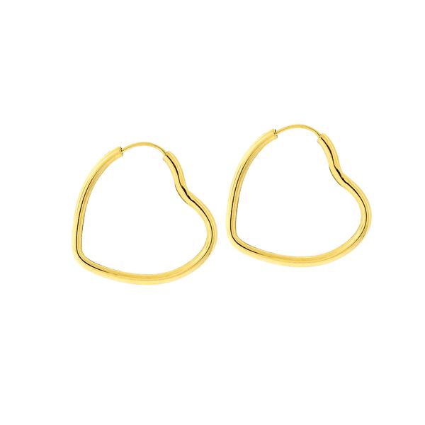 Brinco Argola Coração de Ouro 18K 2,5cm