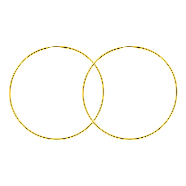 Brinco Argola de Ouro 18K 5cm Fio Redondo