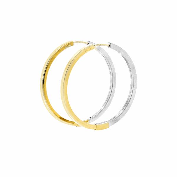 Brinco de Argola em Ouro Amarelo e Branco 18K 3,4cm