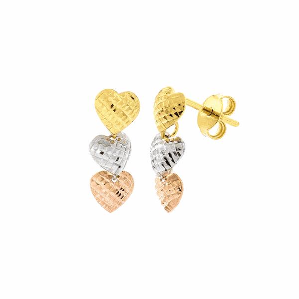 Brinco de 3 Corações Ouro 18K 3 Cores Diamantado