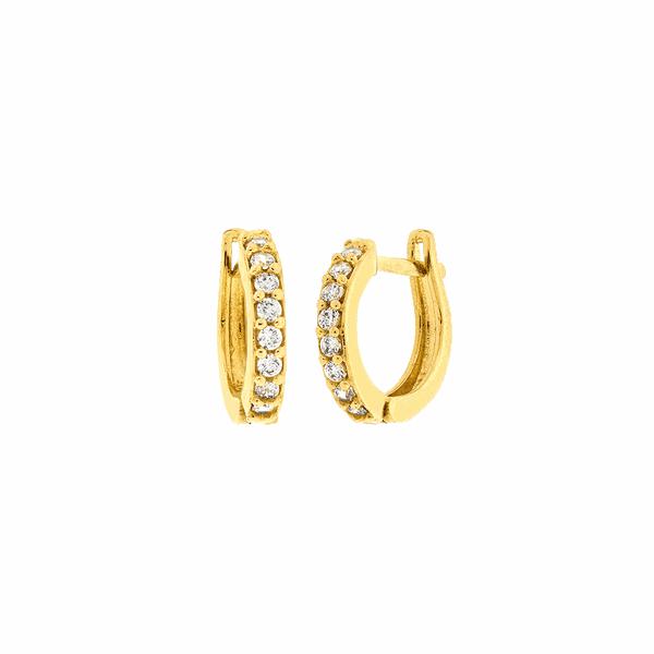 Brinco de Argola Ouro 18K com Pedras de Zircônia 1,0cm