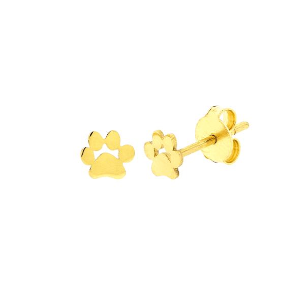 Brinco Pata de Cachorro Ouro 18K Pequeno