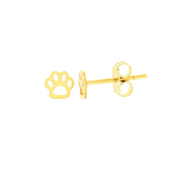 Brinco Pata de Cachorro Ouro 18K Pequeno Vazado
