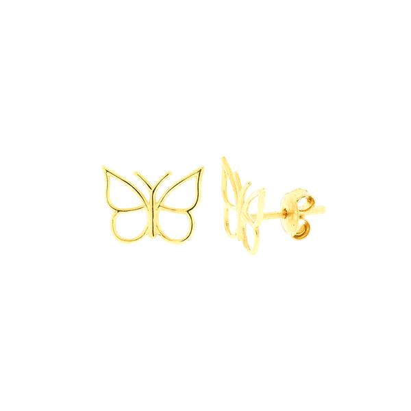 Brinco de Borboleta Ouro 18K Vazado