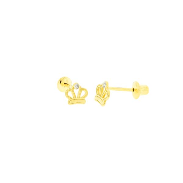 Brinco de Ouro 18K Coroa Pequena com Pedras de Brilhantes