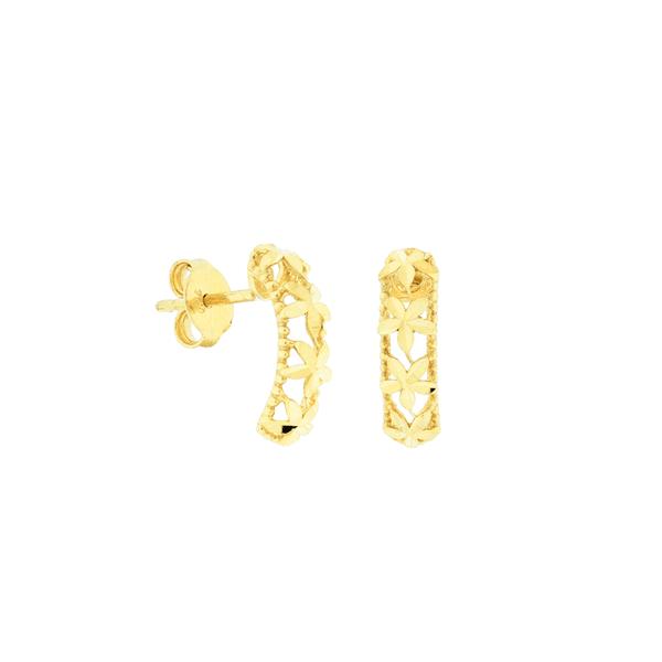 Brinco Retangular de Ouro 18K Detalhe Flores