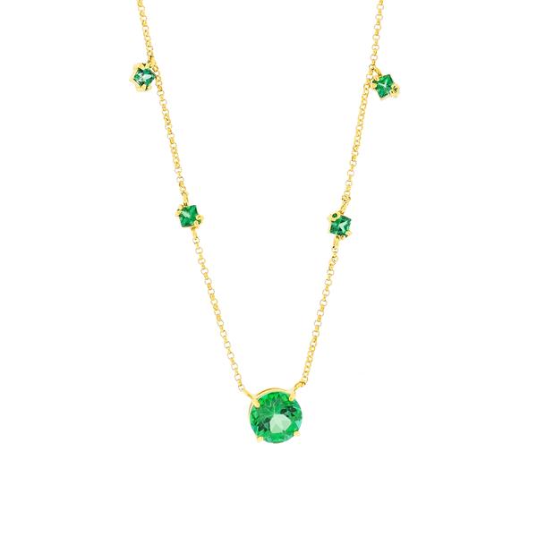 Gargantilha Ouro 18K Pedras de Topázio Verde