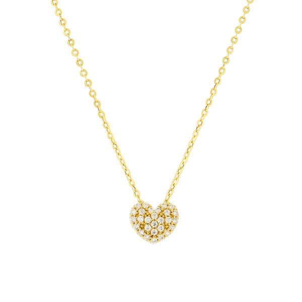 Gargantilha Ouro 18K Pingente Coração Pedras Zirconias