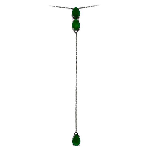 Gargantilha Gravatinha de Ouro 18K com Pedras de Jade Verde