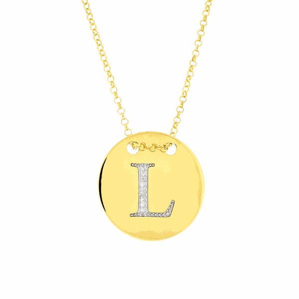 Colar com Letra L em Ouro 18K com Pedras de Brilhante