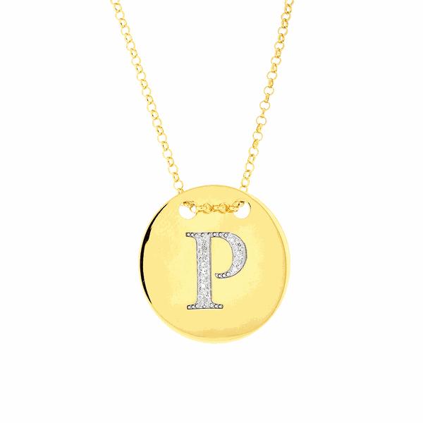Colar com Letra P em Ouro 18K com Pedras de Brilhante