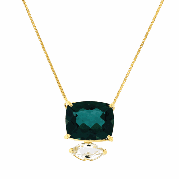 Gargantilha de Ouro 18K Pedras de Topázio Verde e Prasiolita