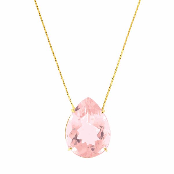 Gargantilha de Ouro 18K com Pedra Quartzo Rosa