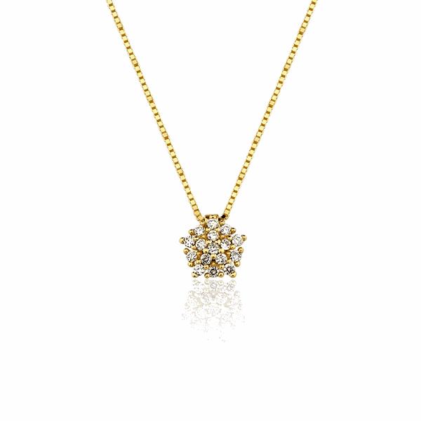 Gargantilha de Ouro 18K Pingente Buquê com Diamantes Pequeno